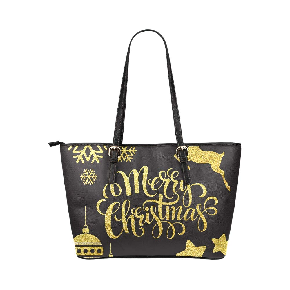 Christmas Happy New Year Letter Large Soft Leather Portable Top Handle Hand Totes Bags Causal Handbags With Zipper Shoulder Shopping Purse Luggage Organizer For Lady Girls Womens Work