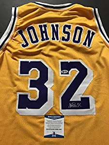 Autographed/Signed Earvin Magic Johnson Los Angeles Lakers Yellow Basketball Jersey Beckett BAS COA