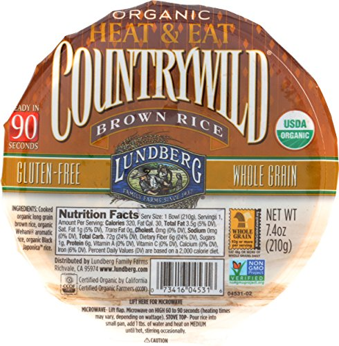 Lundberg Family Farms Heat and Eat Bowl, Countrywild Brown Rice, 7.4 Ounce (Pack of 6) - Ready Heat