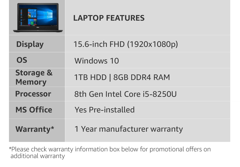Dell Inspiron 3576 Intel Core i5 8th Gen 15 6-inch FHD Laptop (8GB/1TB  HDD/Windows 10 Home/MS Office/Black/2 5 Kg)