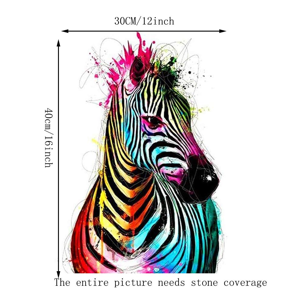 5D DIY Diamond Painting,by Number Kits Crafts Sewing Cross Stitch,Wall Stickers for Living Room Decoration,Color Zebra 30X40CM//12X16inch