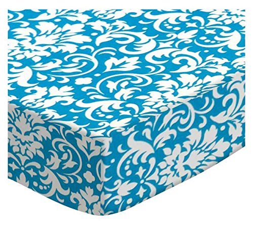 SheetWorld Fitted Cradle Sheet - Turquoise Damask - Made In USA