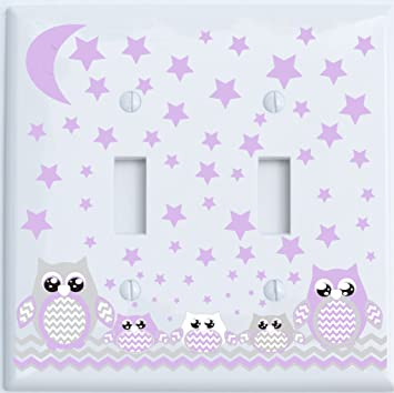 Amazon Com Grey And Purple Owl Double Toggle Light Switch Plate Covers Owl Nursery Decor Double Toggle Owls Baby