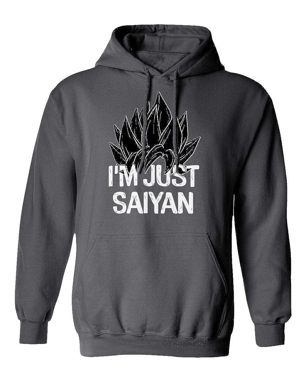 KING THREADS Nerdy Im Just Saying Saiyan Funny Goku Anime Pun Mens Hooded Sweatshirt