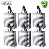 6PC Reusable Grocery Bags Large Tote Fold Flat Waterproof