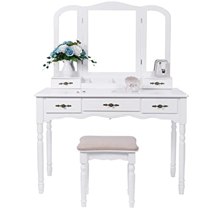 Amazon bewishome vanity set with large tri folding mirror bewishome vanity set with large tri folding mirror cushioned stool vanity desk dressing makeup watchthetrailerfo