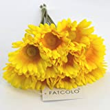 10 pcs Real Touch Latex Silk Artificial fake plastic Daisy Chrysanthemum Flowers Sun Chrysanthemum,Sunflower, Simulation Gerber, Dimorphotheca,Party Room home Decoration DIY Flower Bouquet (yellow)