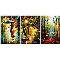 Impresión romántica 3 Paneles Abstracta en poliéster Acuarela Pintura al óleo Moderna del Arte de la Pared decoración del hogar Regard