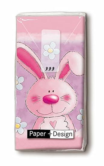 Unbekannt Taschentücher 10 Stück 4 lagig rosa Hase mit Herz