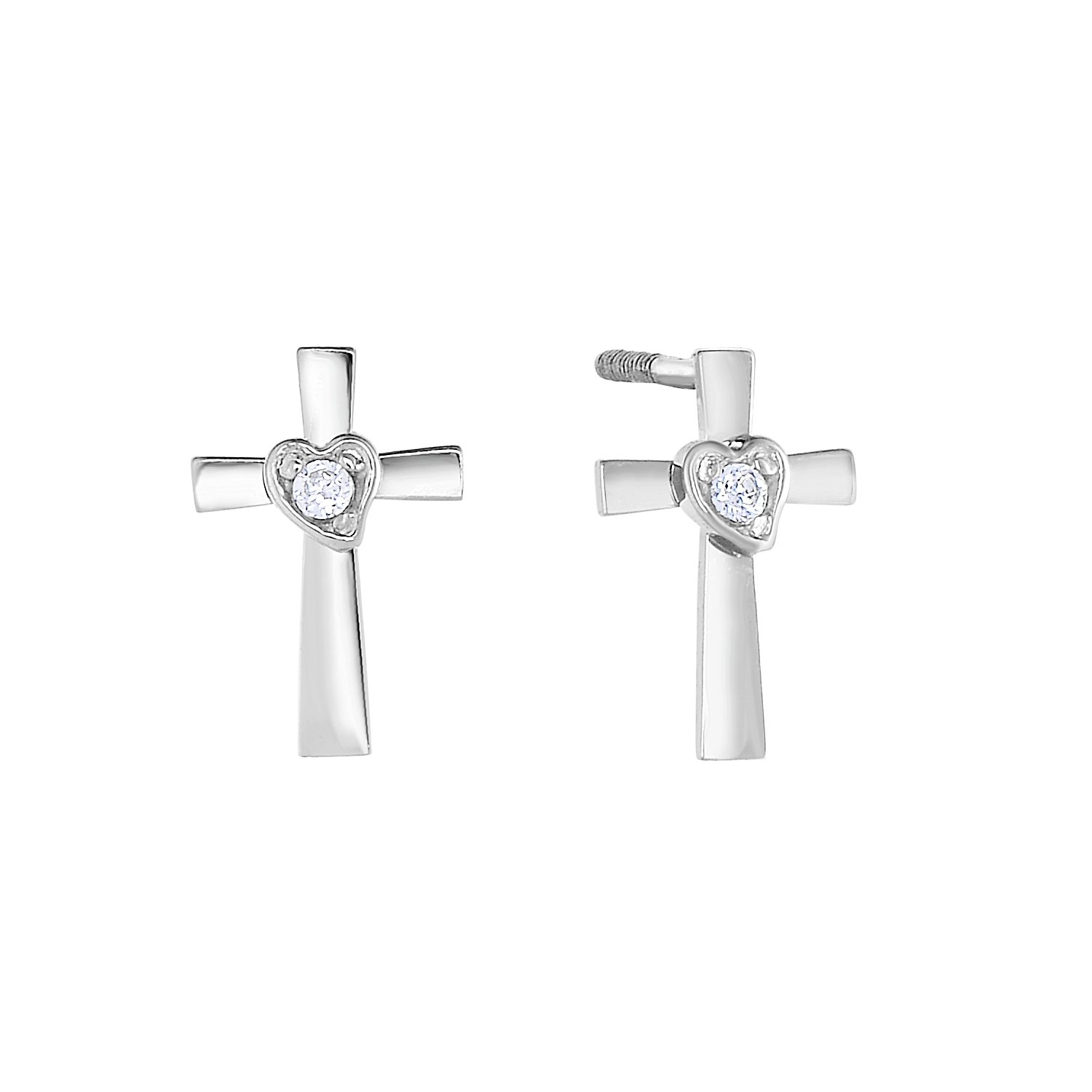 14k Gold Solitaire CZ Tiny Cross /& Heart Stud Earrings for Girls with Secure Screw-Backs NY Gold and Silver Inc 30-8