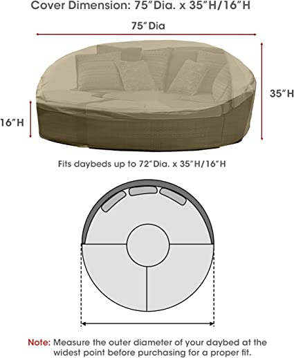 Sunpatio Daybed Cover Outdoor Round Canopy Daybed Sofa Cover With Seam Tape Heavy Duty Waterproof Patio Furniture Cover Fade Resistant Material Helpful Air Vent 75 Dia X 35 H Neutral