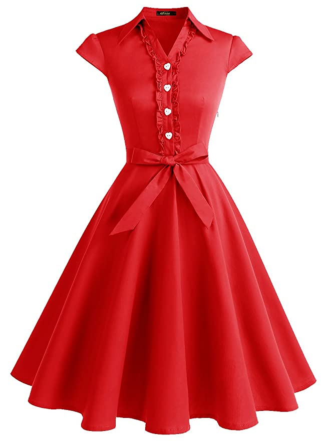 Vintage 50s Dresses: Best 1950s Dress Styles Wedtrend Womens 1950s Retro Rockabilly Dress Cap Sleeve Vintage Swing Dress Wedtrend Womens 1950s Cap Sleeves Swing Vintage Party Dresses Multi Colored $29.99 AT vintagedancer.com