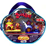 Zoobles Toy Gift Pack Carrying Case #124 Chante, #125 Helmut, #126 Pooley, #218 Pinchers