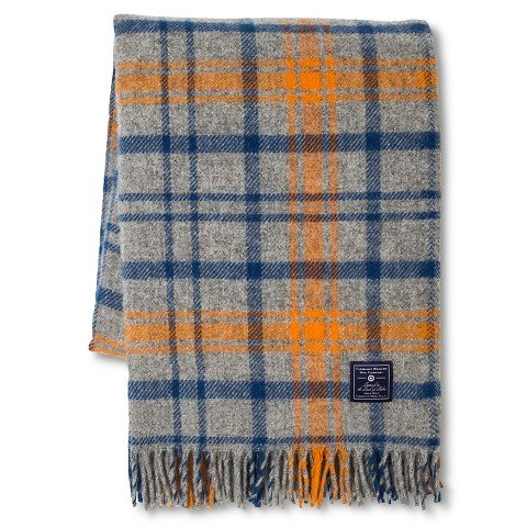 Faribault Woolen Mill Company Plaid Wool Throw - Heather Grey/Blue