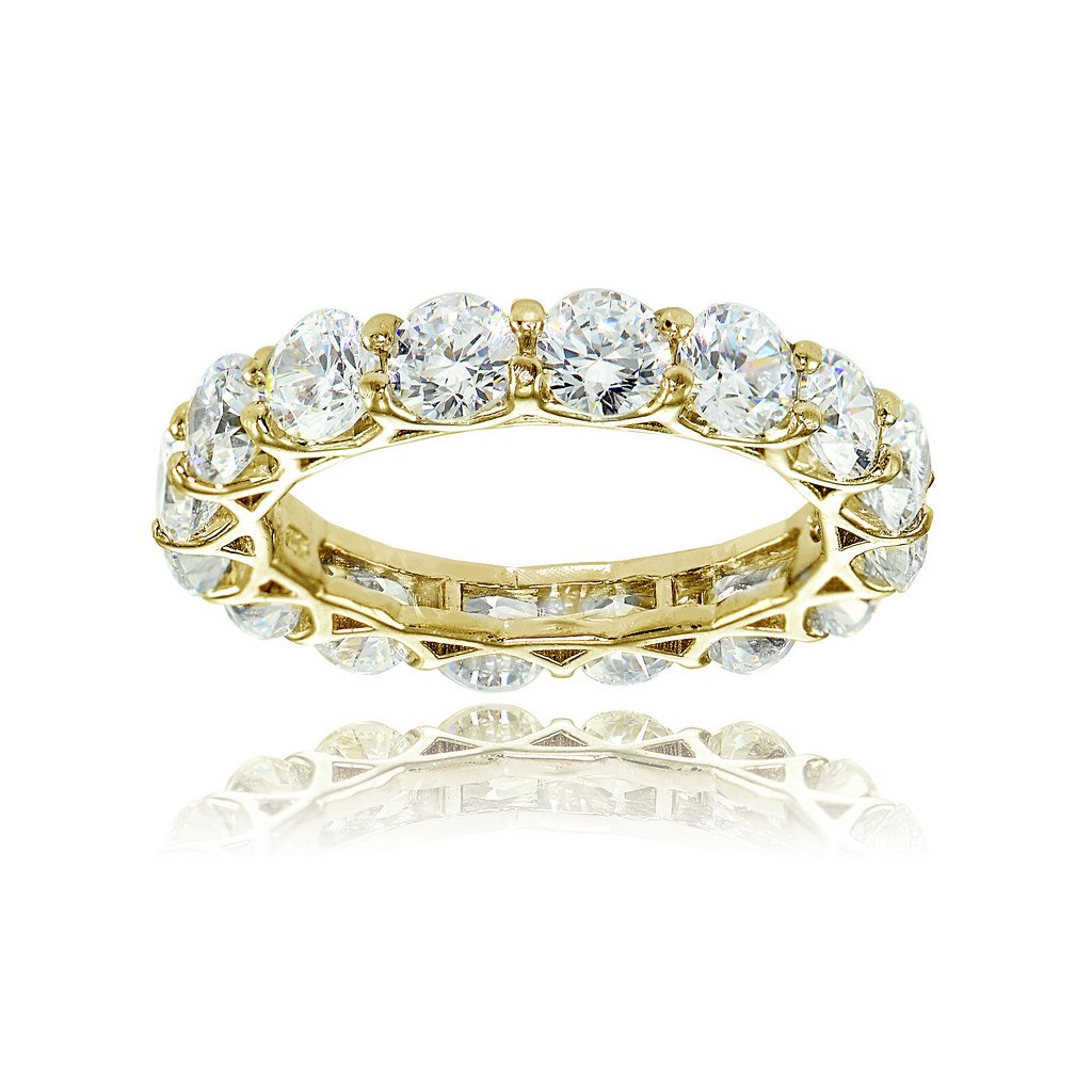Yellow Gold Flashed Sterling Silver Cubic Zirconia 4mm Round-cut Eternity Band Ring