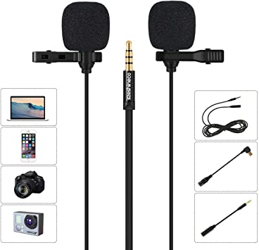 Professionelles Mikrofon Lavalier-Mikrofon omnidirektionales Ansteckmikrofon mit einfachem Clip-On-System f/ür iPhone X XR XS max 8 8 Plus 7 7 Plus 6 6s 6 Plus 5//iPad 3m, 3m