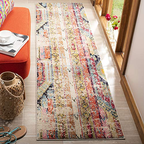 Safavieh Monaco Collection MNC222F Modern Bohemian Distressed Runner, 2'2