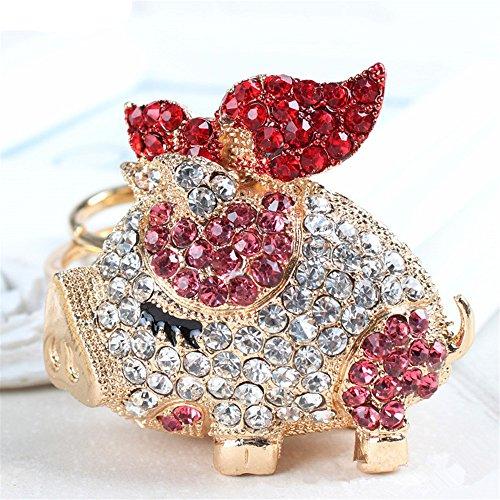 Cute Sparkling Pig Piggy Keychain Keyring Crystal Rhinestones Purse Pendant Handbag Charm (Pink) -