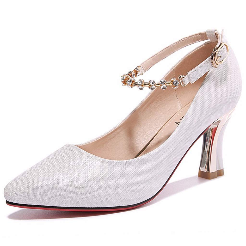 White High Heels Thick with Women's shoes 2019 Spring New Women's shoes Korean Version of The Pointed Word Buckle Sandals Women's shoes (color   White, Size   39)