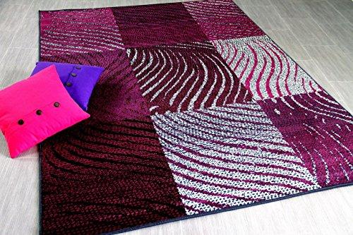 Teppich Trendline Zebra Karo Schwarz Lila in 4 Größen