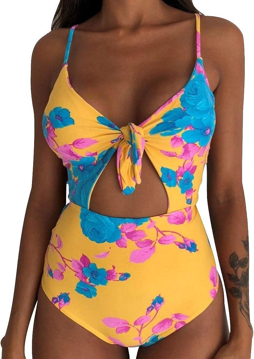 Costumi da Bagno Interi Snellenti Donna Costume Intero Schiena Scoperta Fascia Bikini Spiaggia Costumi Monokini da Mare Un Pezzo Nuoto Push Up Imbottito Trikini Costume Piscina Triangolo Taglie Forti