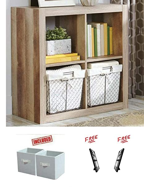 Better Homes And Gardens Bookshelf Square Storage Cabinet 4 Cube Organizer In Weathered Finish With