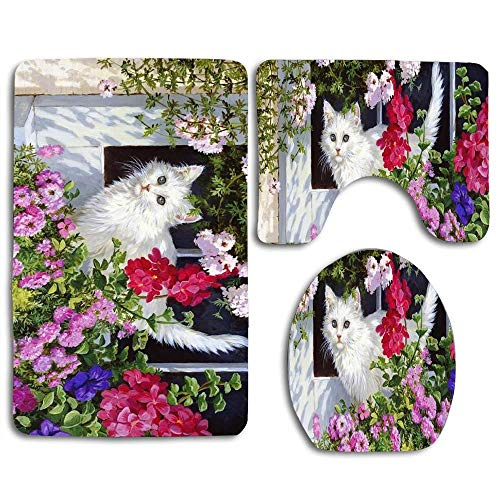 Cute-Bathmat Bathroom Rug Mats Set 3 Piece - Soft Shower Bath Rugs,Contour Mat and Lid Cover, Perfect Combination of Luxury and Comfort (Lovely Garden White Kitten Cat) from Cute-Bathmat