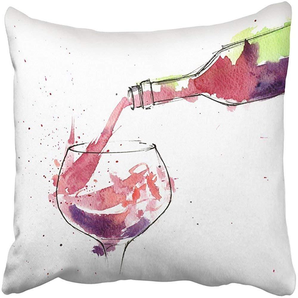 Enjoyable Amazon Com Pillow Covers Print Colorful Bottle Of Red Wine Inzonedesignstudio Interior Chair Design Inzonedesignstudiocom