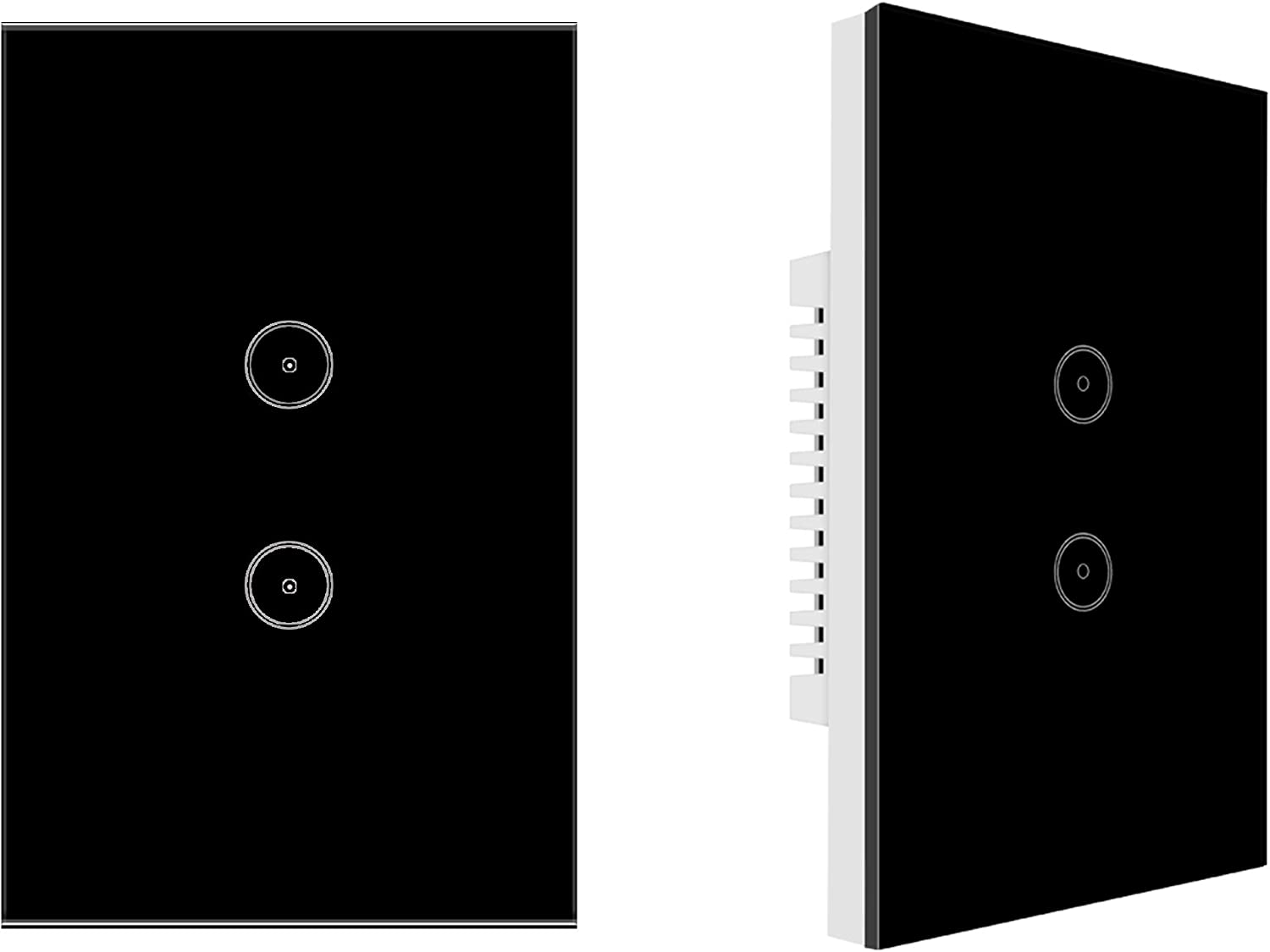 Jinvoo WiFi Wall Light Touch Panel Switch, Remote Control with Smart Phone,No Hub Required, AC 120V, Compatiable with Alexa Echo, Works with Google Home (2gang-2pack-Black)
