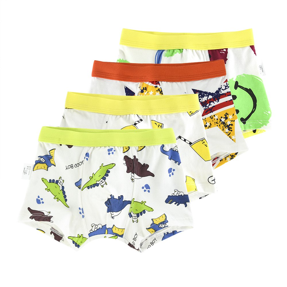 slaixiu Soft Cotton Kids Boxer Briefs Cartoon Boys Underwear Boxers 4-Pack (UW75-N3338-130)