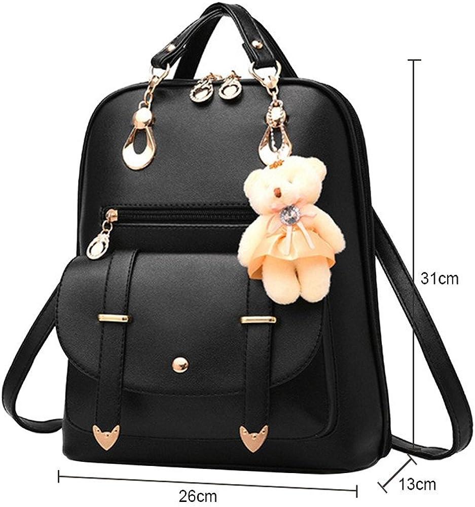 MIRRAY Women's Backpack Waterproof Ladies Vintage PU Leather School Bag Backpack Satchel Student Girls Travel Shoulder Bag Hot Pink