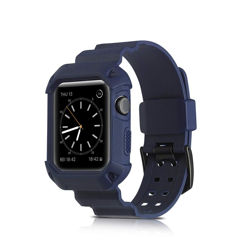 iWatch Case,Lovewe Breathable Shockproof Rugged Protective Silicone Siamese strap Frame sports Replacement watch band for Apple iwatch series 1 2 3 38mm/42mm (Navy, 38MM)