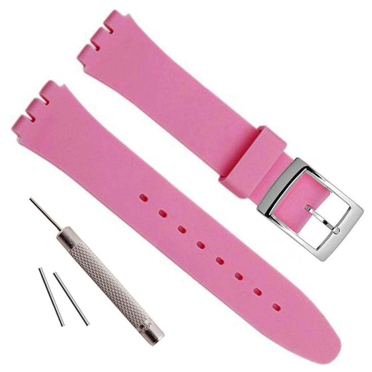 シルバーメッキステンレススチールバックル防水シリコンラバー腕時計ストラップ時計バンド 17mm ピンク 17mm|ピンク ピンク 17mm B07799R7WH