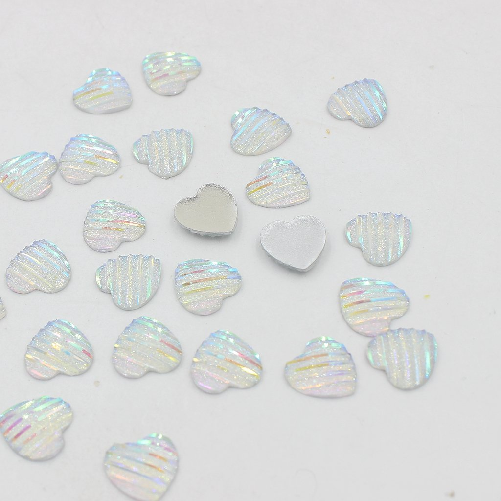 MonkeyJack 50 Pieces 12mm Lovely Heart Shaped Stripe Resin Cabochon Flat back Beads Settings Findings for Jewelry Making Deep Blue AB