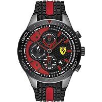 Ferrari Men's RedRev Quartz Black IP and Silicone Strap Casual Watch, Color: Black (Model: 830592)