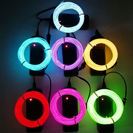 Ice Blue,Lime Green,White,Pink,Red,Purple,Yellow TGHCP-7 Pack 9FT Neon Glowing EL Wire with Battery Pack