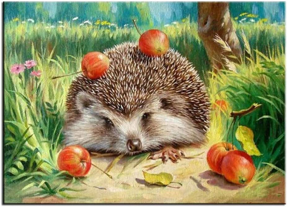 DCPPCPD Jigsaw Puzzles,Hedgehog Apple Puzzle Educational Intellectual Decompressing Fun Game for Kids Adults,300 Pieces 380X265Mm
