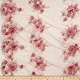 Ben Textiles Stretch Floral Embroidered Mesh Lace Applique Fabric by the Yard, Blush