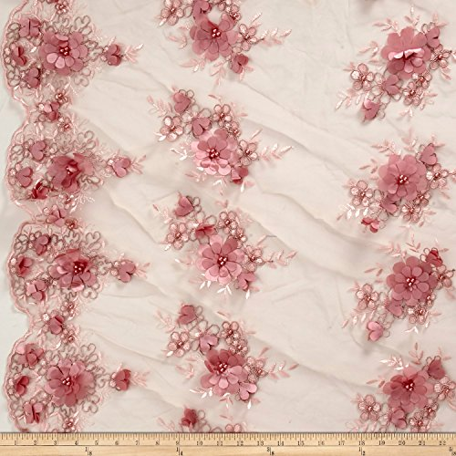 Ben Textiles Stretch Floral Embroidered Mesh Lace Applique Fabric by the Yard, Blush by Ben Textiles