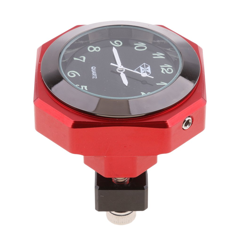 Homyl CNC Horloge de Guidon pour Motos / Cruisers / Choppers Avec Guidon De 7/8' à 1' - Rouge