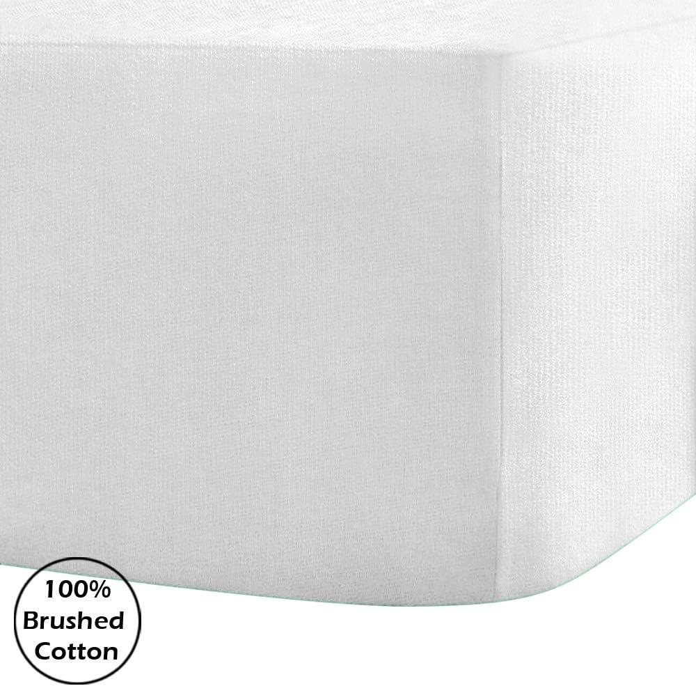 S/ábana bajera ajustable de franela de 100 /% algod/ón cepillado 4 Foot Small Double Linen Zone 14 colores extra profunda Blanco 40 cm