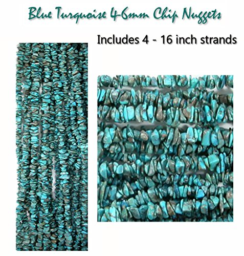 Genuine Blue Turquoise 4-6mm Nugget Chip Beads for Jewelry Making (Includes 4-16