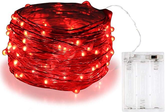 Guirnalda de luces Bolweo de 3 m con 30 luces LED, Rojo, 1 pack: Amazon.es: Hogar