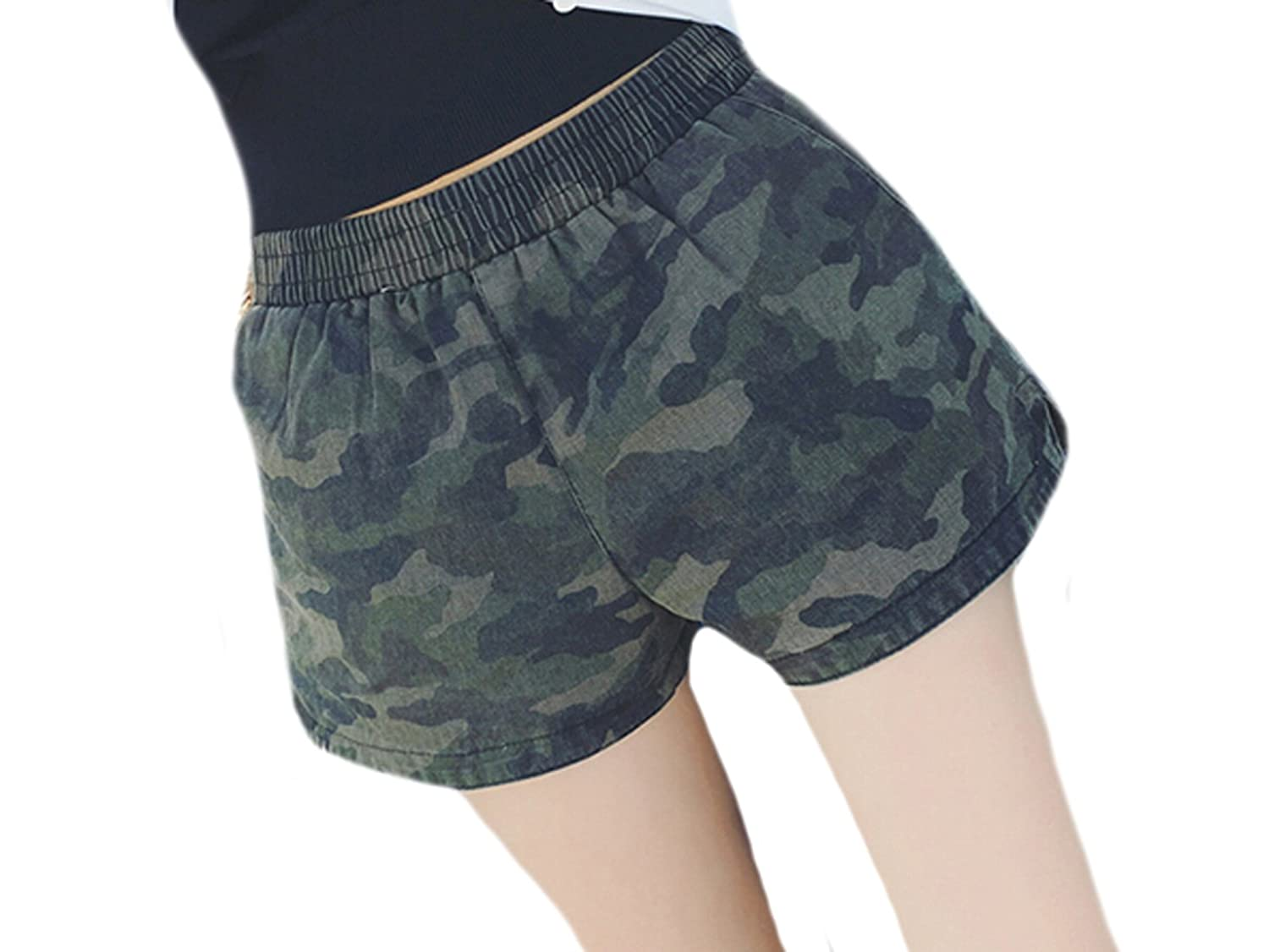 Generic Womens Loose Camo Elastic Waist All-match Hot Shorts