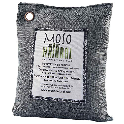MOSO NATURAL Air Purifying Bag 600g. Odor Eliminator, Odor Absorber for Home and Basement. Charcoal Color