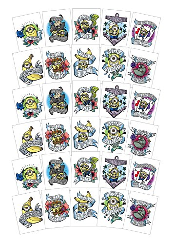 Super Fun Stop Gifts Large Despicable ME 3 Temporary Tattoos for Party Favors / Party Activities - 30 Sheets - Featuring Gru and Minions Bob, Kevin and Stuart by Super Fun Stop Gifts