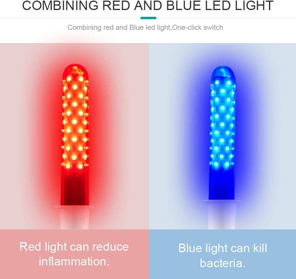 Women Gynecological Vaginitis Treatment 70 Individual LED Vaginal Massage Red Blue Led Light Therapy Device Laser Anti-inflammatory Disinfect Therapy Female Home Care (Complete gynecology machine set): Health & Personal Care