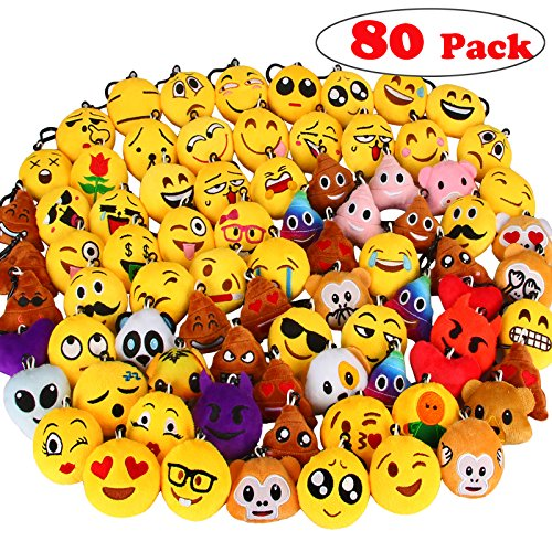 Dreampark 80 Pack Emoji Keychain Mini Plush Pillows, Party Favors for Kids, Christmas / Birthday Party Supplies, Emoticon Gifts Toys Prizes for Kids Easter Eggs Fillers 2