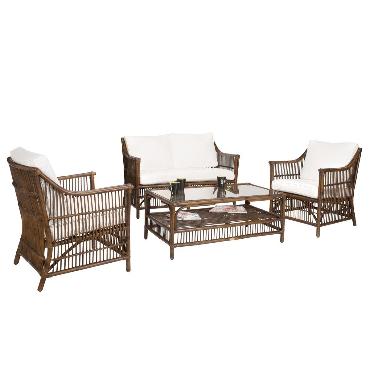 Rattan-Lounge Sitzgarnitur CHILI (Bambus) - 4-tlg. - inkl. Polsterauflagen - Braun