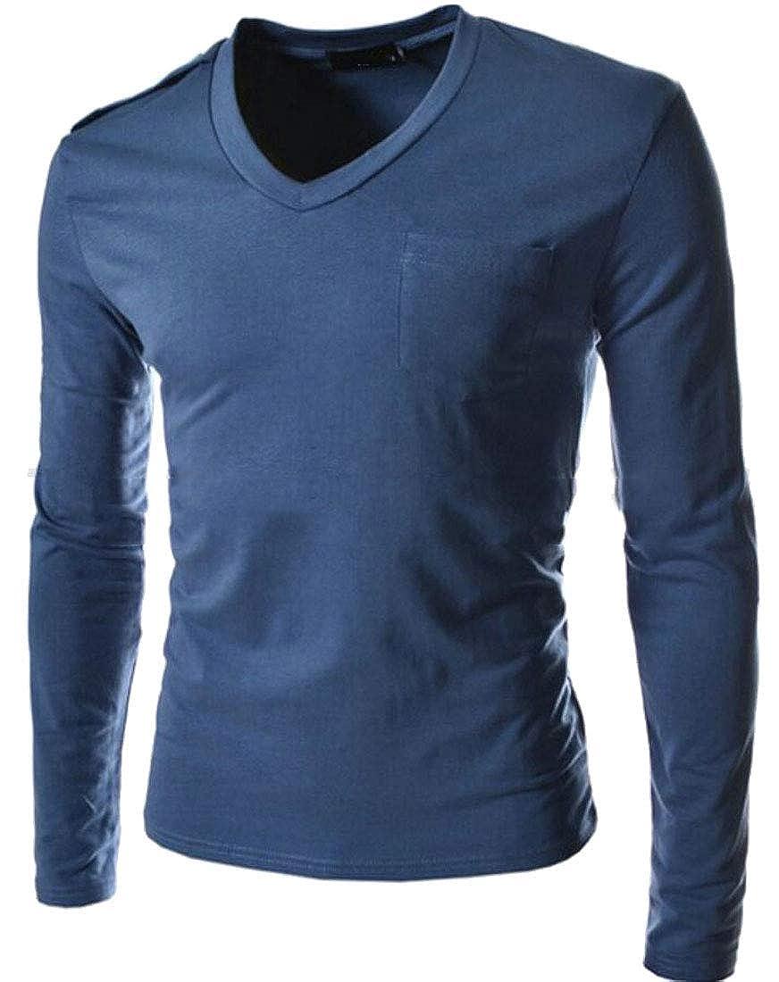 Generic Mens V Neck T-Shirt Long Sleeve Shirt Slim Fit Top